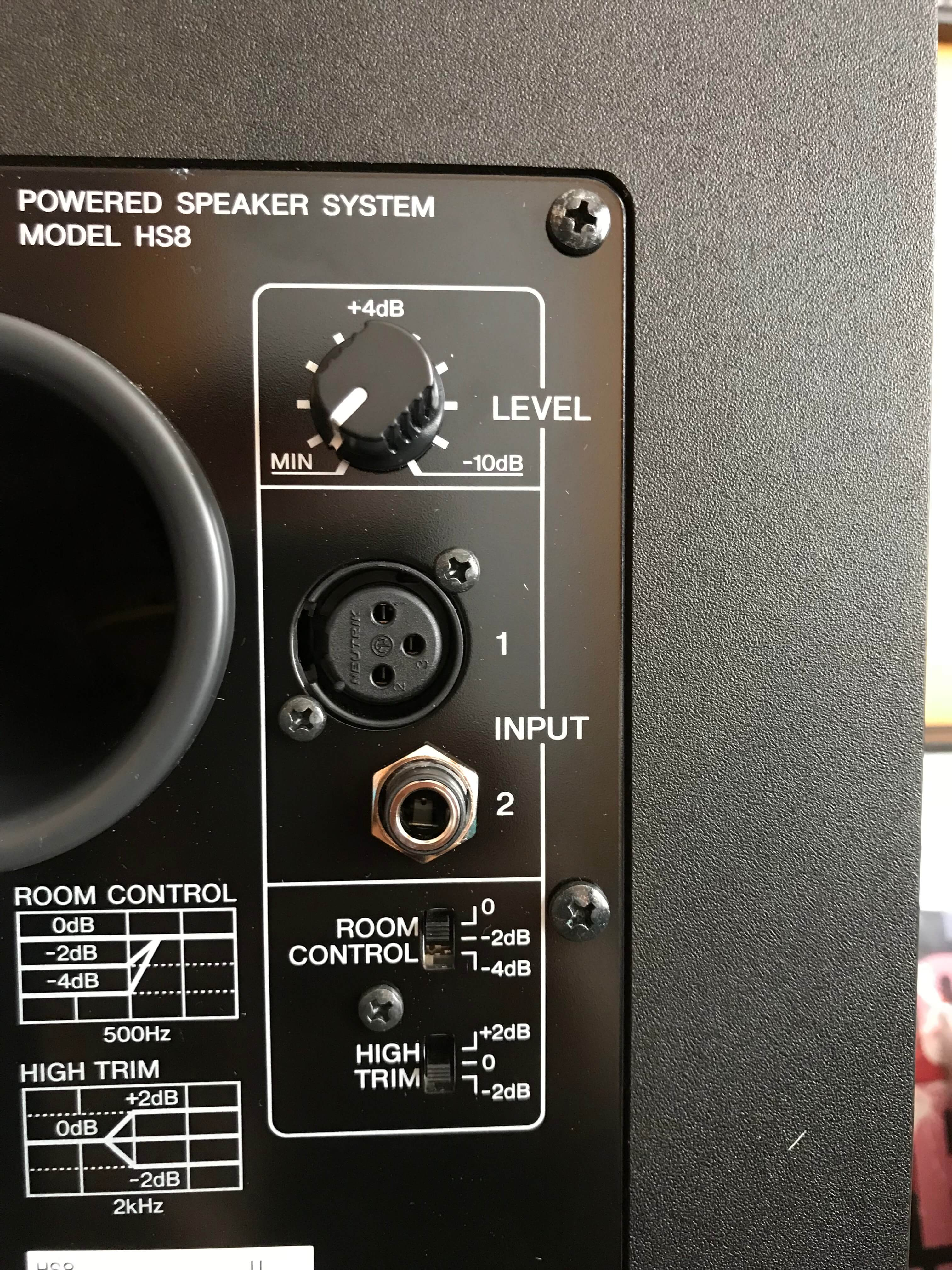 Yamaha HS8 monitor speakers rear
