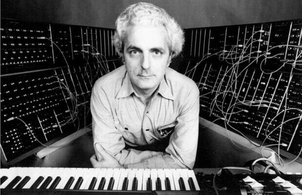 Bob Moog with modular synthesizer